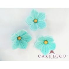 Cake Deco Turquoise Petunias with Gold pearl (30pcs)