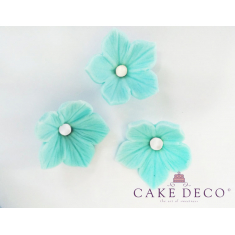 Cake Deco Turquoise Petunias with White Pearl (30pcs)