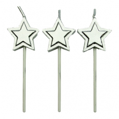 Silver Stars Candles Set of 8