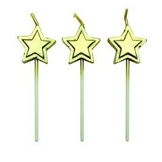 Gold Stars Candles Set of 8