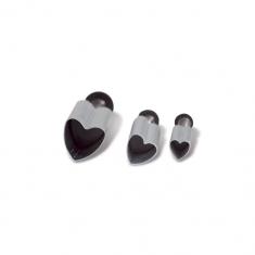 Small Hearts Metallic Plunger Cutter set of 3 D5/8/12 mm