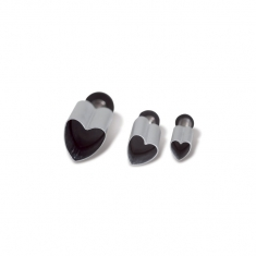 Small Hearts Metallic Plunger Cutter set of 3 D5/8/12 mm
