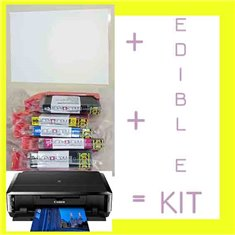 Edible Printing Starter Kit A4 (Canon IP7250, A4 HD Printer - Set of Inks - Pack of 25 Decor Plus Sheets)
