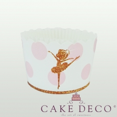 Μπαλαρίνες Ροζ Πουά - Θήκες Cupcakes με καραμελόχαρτο Μεγάλα Δ7xΥ4,5εκ. -65τεμ