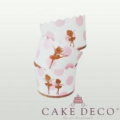 Βallerinas Pink Dots Cupcake Baking Cases  with anti-stick liner D7xH4,5cm. 20pcs
