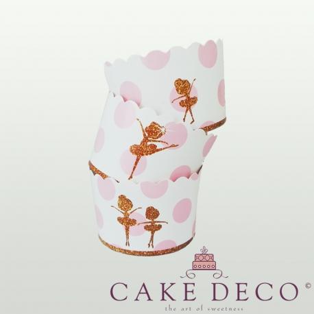 Μπαλαρίνες Ροζ Πουά - Θήκες Cupcakes με καραμελόχαρτο Μεγάλα Δ7xΥ4,5εκ. -  20τεμ