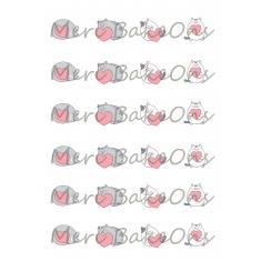 Γατούλες με καρδούλες Meri BakeOns Φύλλο για Mαρεγκάκια