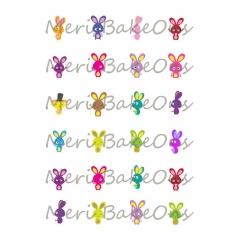 Πολύχρωμα Κουνελάκια Meri BakeOns Φύλλο για Mαρεγκάκια