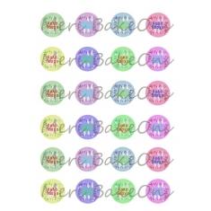 Πολύχρωμα Πασχαλινά Σχέδια Meri BakeOns Φύλλο για Mαρεγκάκια