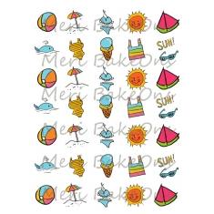 Καλοκαιρινά Παιχνίδια στον Ήλιο - Σχέδια Meri BakeOns Φύλλο για Mαρεγκάκια