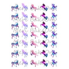 Πολύχρωμοι Μονόκεροι Meri BakeOns Φύλλο για Mαρεγκάκια