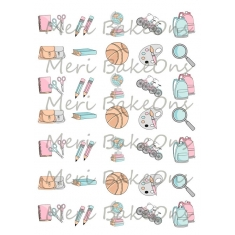 Πίσω στα Θρανία - Σχέδια Meri BakeOns Φύλλο για Mαρεγκάκια