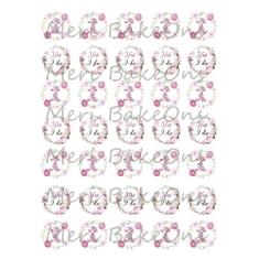 Flower Wedding designs with wishes - Meri BakeOns Meringue Design Baking Sheets
