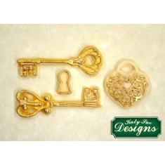 Διακοσμητικά Κλειδιά και Λουκέτο - Καλούπι Σιλικόνης της Katy Sue