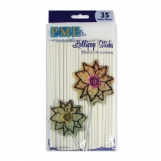 White Lollipop Sticks by PME Pk/35 D16cm-6.3in