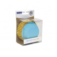 Cupcake Cases Foil Lined - Blue with Gold Foil Trim Pk/30