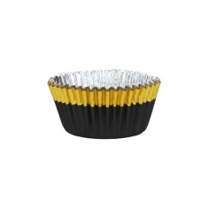 Cupcake Cases Foil Lined - Black with Gold Foil Trim Pk/30