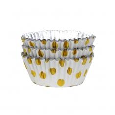 Λευκό με Χρυσό Πουά - Αντικολλητικά καραμελόχαρτα αλουμινίου της PME 30τεμ.