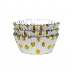 Cupcake Cases Foil Lined - Gold Foil Polka Dots Pk/30