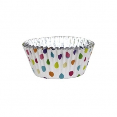 Cupcake Cases Foil Lined - Multicolour Polka Dots Pk/30