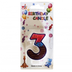No.3 Colorful Fancy Birthday Candle (Box 12pcs)