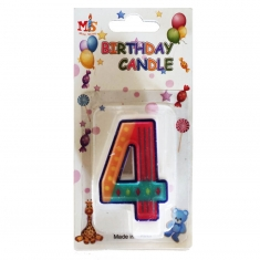No.4 Colorful Fancy Birthday Candle (Box 12pcs)