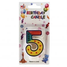 No.5 Colorful Fancy Birthday Candle (Box 12pcs)
