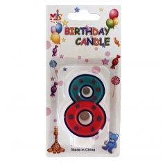 No.8 Colorful Fancy Birthday Candle (Box 12pcs)