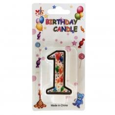 No.1 Colorful Baloon Birthday Candle (Box 12pcs)