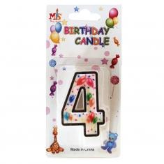Νο.4 Πολύχρωμο Κεράκι Γενεθλίων με Μπαλόνια (Κουτί 12 τεμ.)