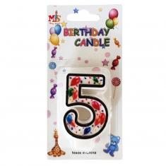 Νο.5 Πολύχρωμο Κεράκι Γενεθλίων με Μπαλόνια (Κουτί 12 τεμ.)