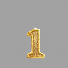 No.1 Gold Glitter Birthday Candle (Box 12pcs)