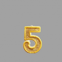 No.5 Gold Glitter Birthday Candle