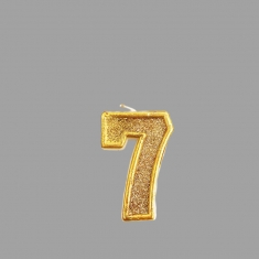 No.7 Gold Glitter Birthday Candle (Box 12pcs)