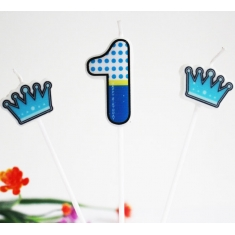Light Blue No.1 Candle and Crowns set