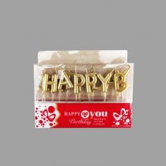 Σετ 13τεμ. Χρυσά Κεράκια Γενεθλίων Happy Birthday (Κουτί 12 τεμ.)