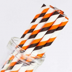 Stripe Paper Straws Black and Orange for Halloween