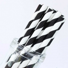 Stripe Paper Straws Black White
