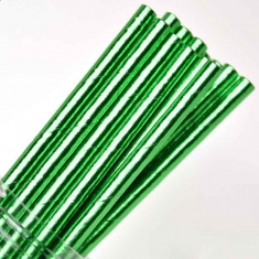 Solid Paper Straws Green Foil