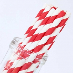 Stripe Paper Straws Red White