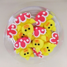 Easter Icing Decorations Yellow Duckies 8pcs
