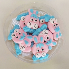 Easter Icing Decorations White Easter Bunnies 8pcs